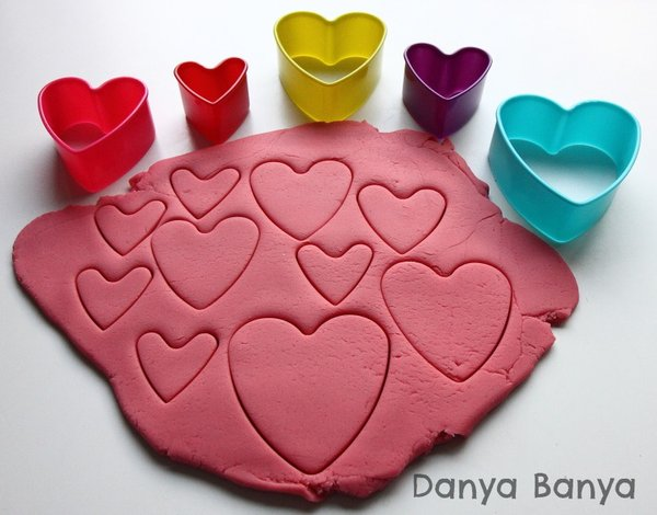 Play Dough and Heart Shaped Cookie Cutters