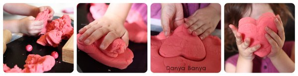 Playing and creating hearts with Play Dough