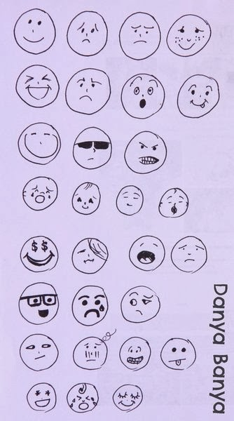 Drawing facial expressions to demonstrate different emotions
