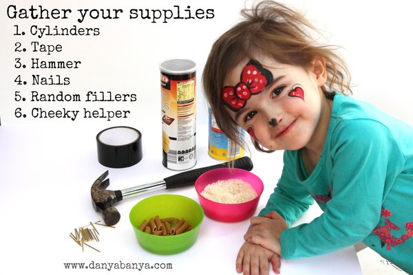 gather your supplies for toddler-made rainsticks