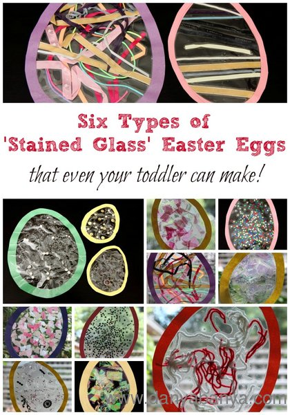 Six Types of Stained Glass Easter Eggs - that even your toddler can make!