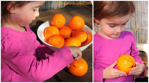 Toddler or preschooler activity - drawing Orange Faces