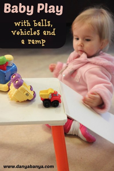 Baby Play with vehicles, balls and a ramp