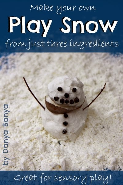 DIY Play Snow using just three ingredients. Great for sensory play.
