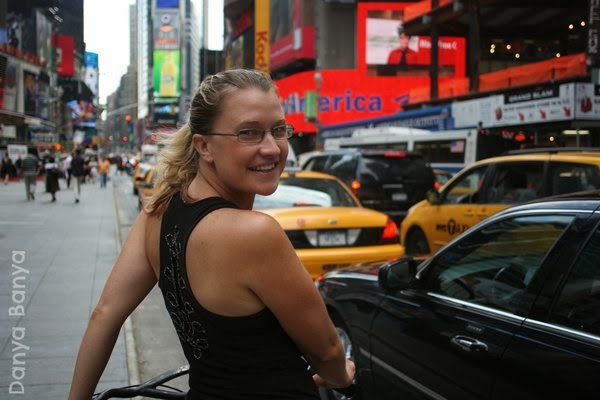 Cycling down Times Square