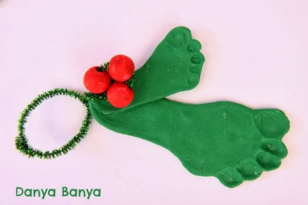 Polymer clay kid & baby footprint, painted bead and pipe cleaner mistletoe decorations