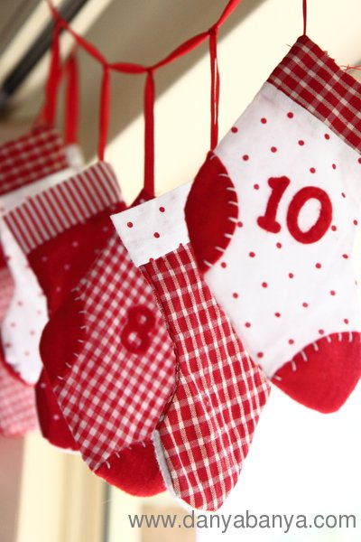 Christmas advent stocking calendar