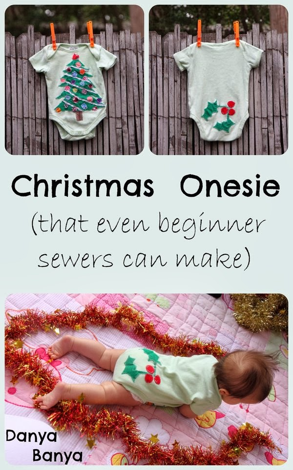 Christmas Baby Onesie (with Christmas tree front & holly bottom) that even beginner sewers can make