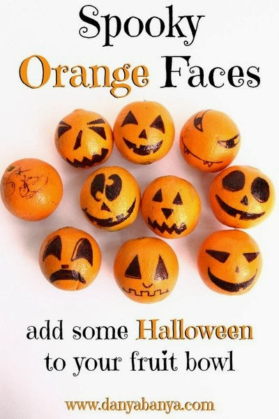 Draw some Spooky Orange Faces to add some Halloween to your fruit bowl