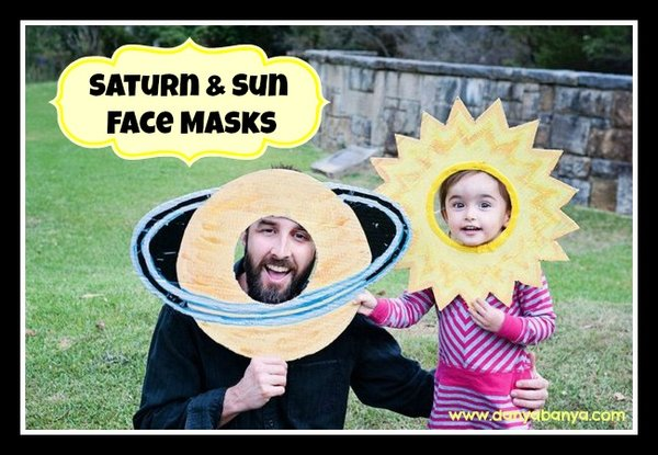 Saturn and Sun facemasks