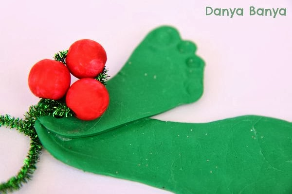 Clay footprint mistletoe & bead holly Christmas decorations