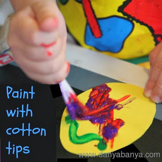 Easter Egg painting with Cotton Tips, Knuckles and Fingers