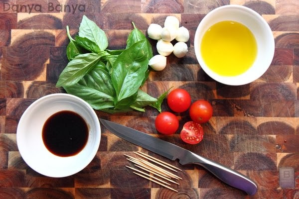 How to make mini Caprese salad skewers, a bite-sized appetizer for Christmas