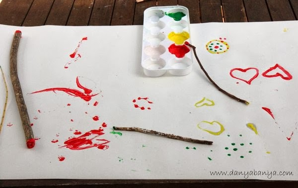 Toddler art idea - paint with sticks
