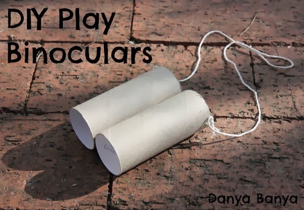 Toilet paper roll pretend play binoculars with white string
