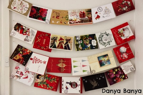 Upcycled Christmas cards advent calendar