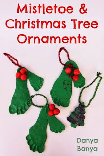 Mistletoe and Christmas Tree ornaments