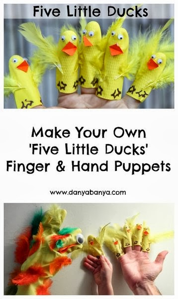 five little dusks puppets kids spring activity