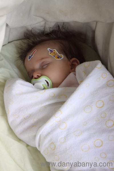 Baby Bee, asleep, swaddled in flannel, with stickers on her face and dummy
