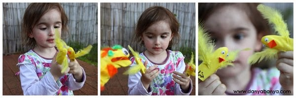 DIY bird finger puppets for Two Little Dicky Birds nursery rhyme play
