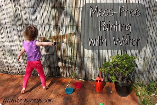 Mess-free toddler or preschooler play idea: painting with water