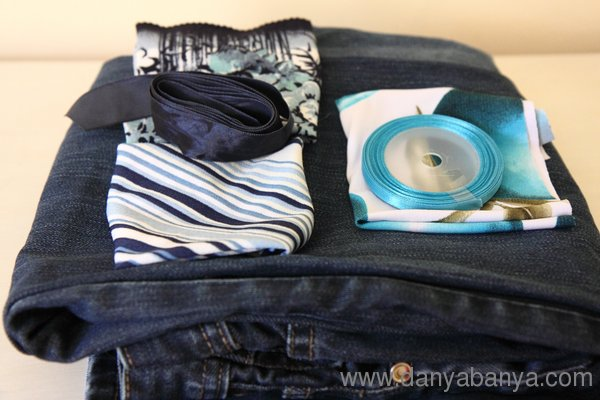 jeans, three different blue fabrics and two ribbons