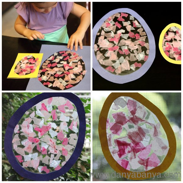 Toddler making Stained Glass Easter Egg with tissue paper