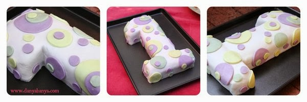 Number 1 cake with dotty fondant icing