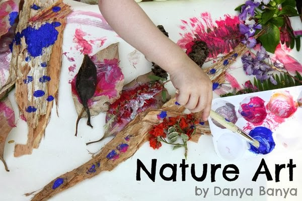 Spring Nature Art for preschoolers - Learning about and painting with neighbourhood flora.