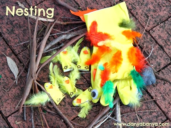 Making a pretend nest for ducklings