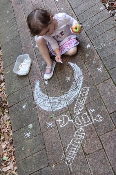 Learning about space with chalk - stars, moon, satelitte