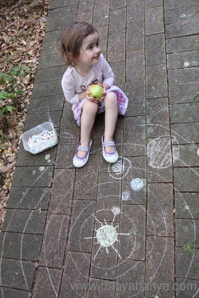 Learning about space with chalk - the solar system