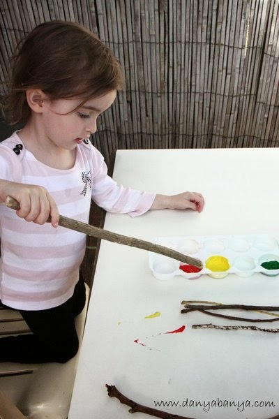 Toddler art idea: paint with sticks