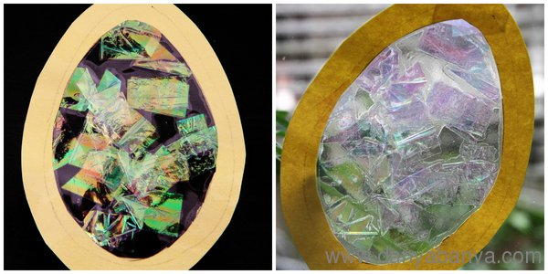 Stained Glass Easter Egg with cellophane
